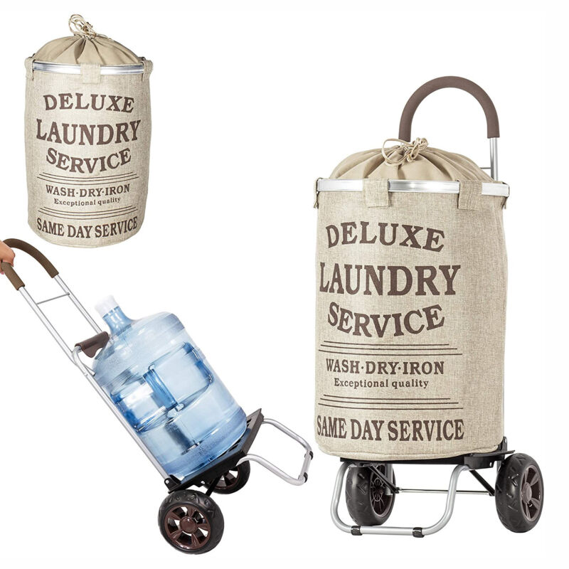 dbest products Laundry Trolley Dolly with Beige Hamper Bag and Wheeled Cart