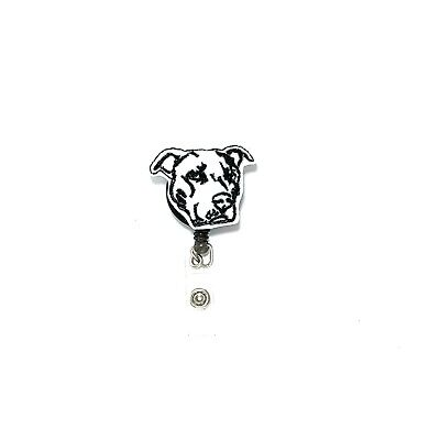 Pitbull Badge Reel Holder Clip Dog Puppy Nurse Vet Name Tag ID Charm Lanyard  ()