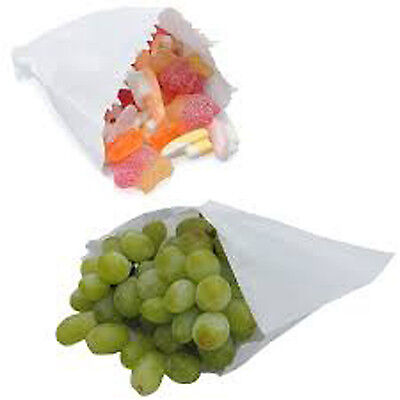 100 x High Quality 8.5'' x 8.5'' White Strung Paper Bags Fruits Sweets Packing
