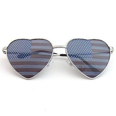 Premium US Aviator USA American Flag Sunglasses United States Stars Heart Shades