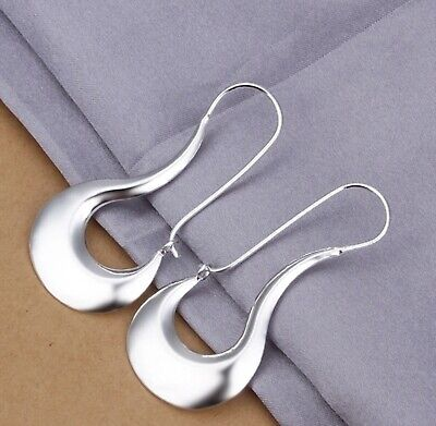 925 Sterling Silver Oblong Abstract Unique Hoop Pierced Earrings For -