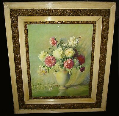 Gorgeous Antique Floral Bouquet Print with Gold Gilt Ornate Frame