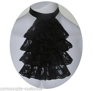 Men-black-lace-jabot-cravat-Victorian-Georgian-Regency-Steampunk-Goth-costume