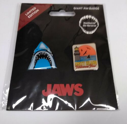 """Universal Jaws and  """"Amity Island Welcome You"""" Limited Edition Pin Set"""