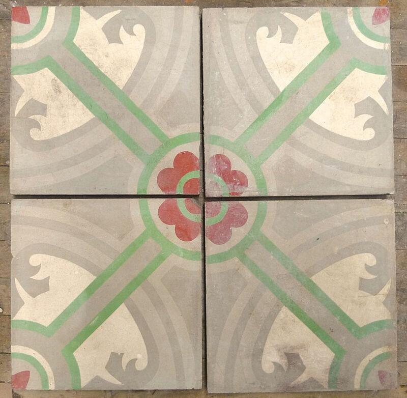 Cement Tile Set of 4 Geometric Vintage