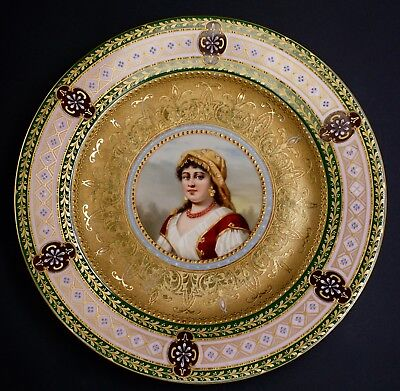 French Porcelain Royal Vienna Style Portrait Plate French Lady Portrait Plate