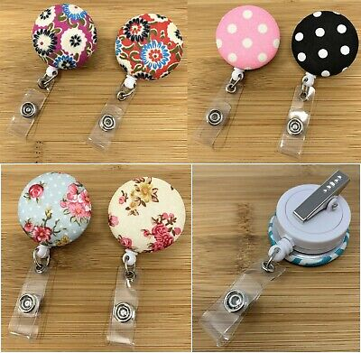 Nurse Retractable ID Name Badge Reel Holder with Swivel Clip - Fabric / Leather