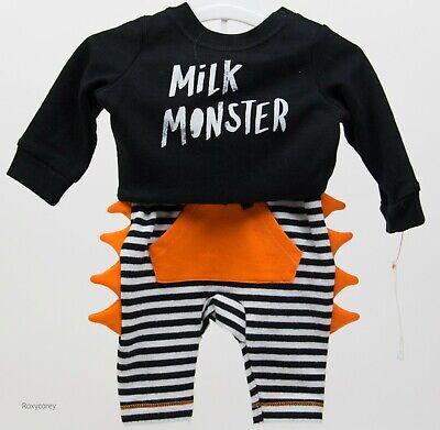 Newborn Cat Halloween Costumes (Halloween Baby Cat & Jack Milk Monster Shirt & Pant Outfit Size Newborn)