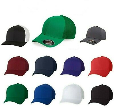 FLEXFIT Mens Trucker Cap with Mesh Sides And Back Fitted Hat S/M L/XL Ball (Flexfit Trucker)