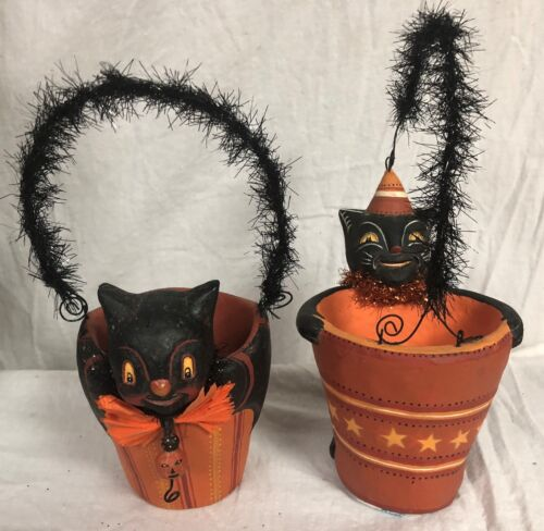 "Johanna Parker S-2 HALLOWEEN Paper Pulp 4"" SPOOKY HALLOWEEN PAILS~BLACK CAT/BAT"