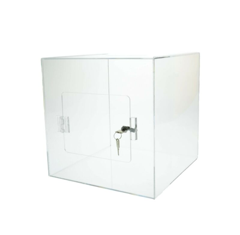 """Clear 10"""" x 10""""  Locking Ballot Donation Suggestion Box Contest Cube"""