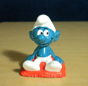 Smurf Pillow Cushion Sitting Vintage Original Figure Schleich Toy Lot Peyo 20085