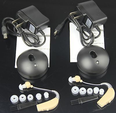 2X Rechargeable Acousticon Behind Ear Hearing Aid Aids Audiphone Sound Amplifier