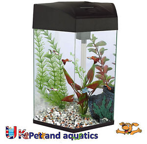 Fish r fun hexagonal fish tank 21 6l black ebay for Fun fish tank
