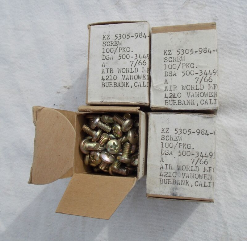 NOS  Military Aircraft Hardware 4 Boxes Of 100 each 10-24 Screws 3/8 inch Long