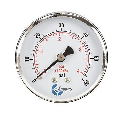 2-12 Pressure Gauge - Chrome Plated Steel Case 14npt Back Mnt. 60 Psi