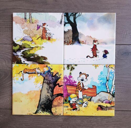Calvin and Hobbes 4 Seasons Ceramic Accent 4 Tile Set