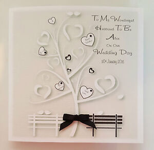 Personalised Card On Our Wedding Day Wife/Bride/Husband To Be - Black Any Colour