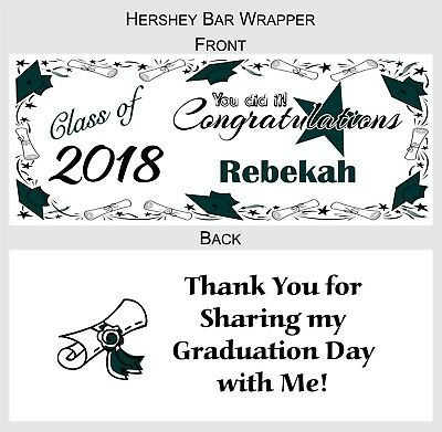 12 GRADUATION FAVORS CANDY BAR WRAPPERS HERSHEY BAR WRAPPERS ](Hershey Bar Wrappers)