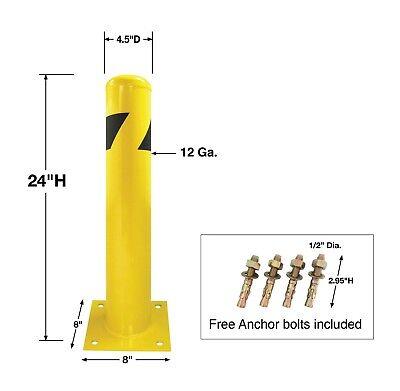 8NET Yellow Signs Pipe Safety Bollard Steel Barrier 24