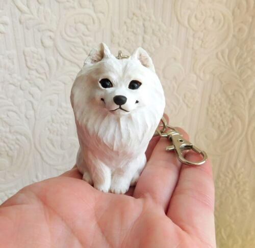Samoyed Key chain Handmade Furever Clay Resin Sculptures by Raquel