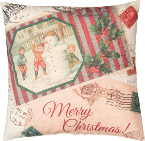"""Primitive By Kathy 16"""" x 16"""" Snowman Throw Pillow """"Merry Christmas Greetings"""""""