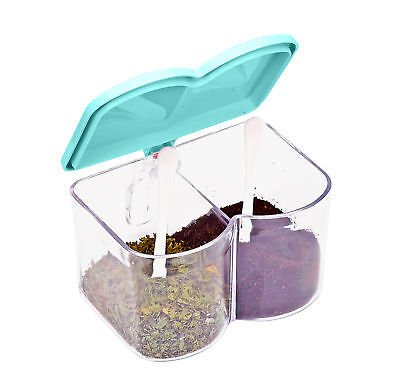 Acrylic Spice Seasoning Box Container Condiment Dispenser Organizer 2 Spice Blue Food Storage Containers