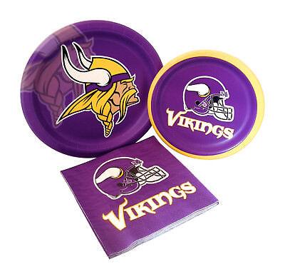 Minnesota Vikings Football Party Paper Dinner Dessert Plates Napkins for 8 - Football Desserts
