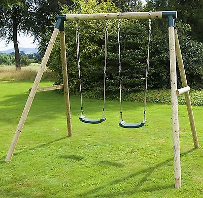Rebo Venus Wooden Garden Swing Set - Double Swing