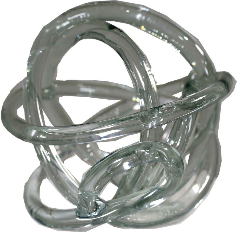 Contemporary Organic Decorative Tabletop  Glass Knot Sculpture