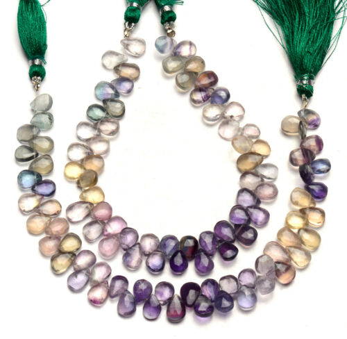"""Natural Gem Rainbow Fluorite 9x7mm Size Faceted Pear Briolette Beads 9"""" Strand"""