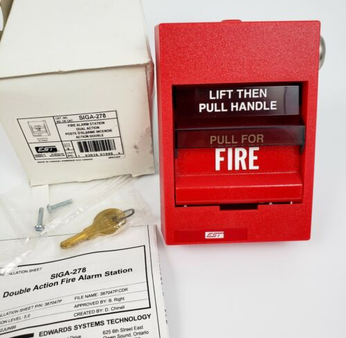 EST Edwards SIGA-278 Fire Alarm Station Dual Action with Key - NEW