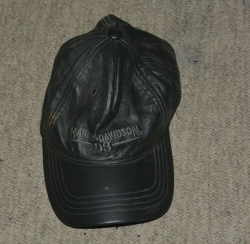 Harley-Davidson 03 black 100% Leather Ball baseball Cap style size Small