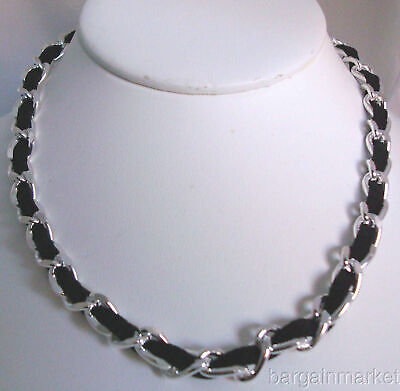 Sexy Silver Chain Link Black Satin Ribbon Necklace Choker Sexy Chain Link