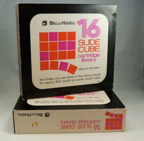 2 Vintage Bell & Howell Slide Cube Library with 16 Slide Cubes Each