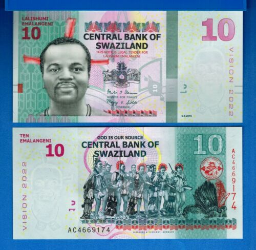 Swaziland P-36c 10 Emalangeni Year 2015 Hybrid Polymer Uncirculated Banknote