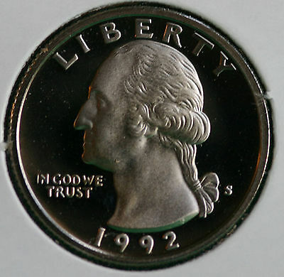 1992 CLAD PROOF WASHINGTON QUARTER 25C COIN