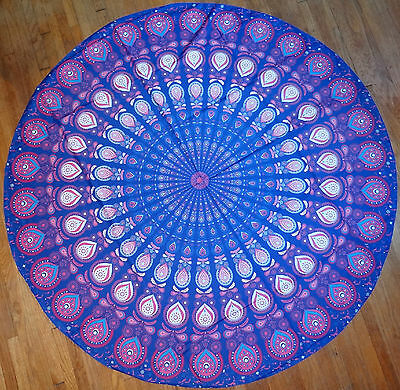 Peacock Tablecloth (Round Purple Paisley Peacock Tablecloth Scarft Wrap New Large 58 in)
