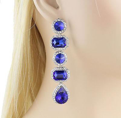 Vegas Austrian Rhinestone Crystal Chandelier Dangle Earrings E3516b Royal Blue