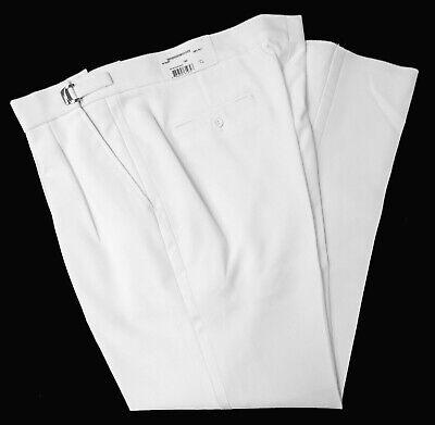 Adjustable Tuxedo - New Men's White Tuxedo Pants Pleated Front with Satin Stripe Washable Adjustable