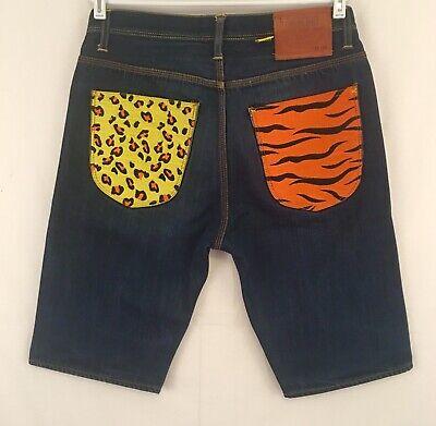 Rave Shorts Mens (Devil Nut Denim Shorts Rave Jean Shorts Mens 34 Dark Wash)