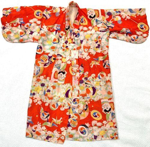KIMONO Girls Vintage 1960 Handmade Silk Red Asian Japanese Authentic Cat Flowers