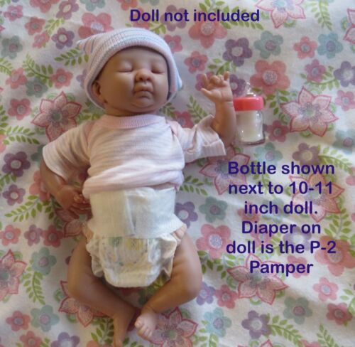 Miniature pink Baby bottle/faux milk and P-2 diaper for 10-12 inch Reborn doll