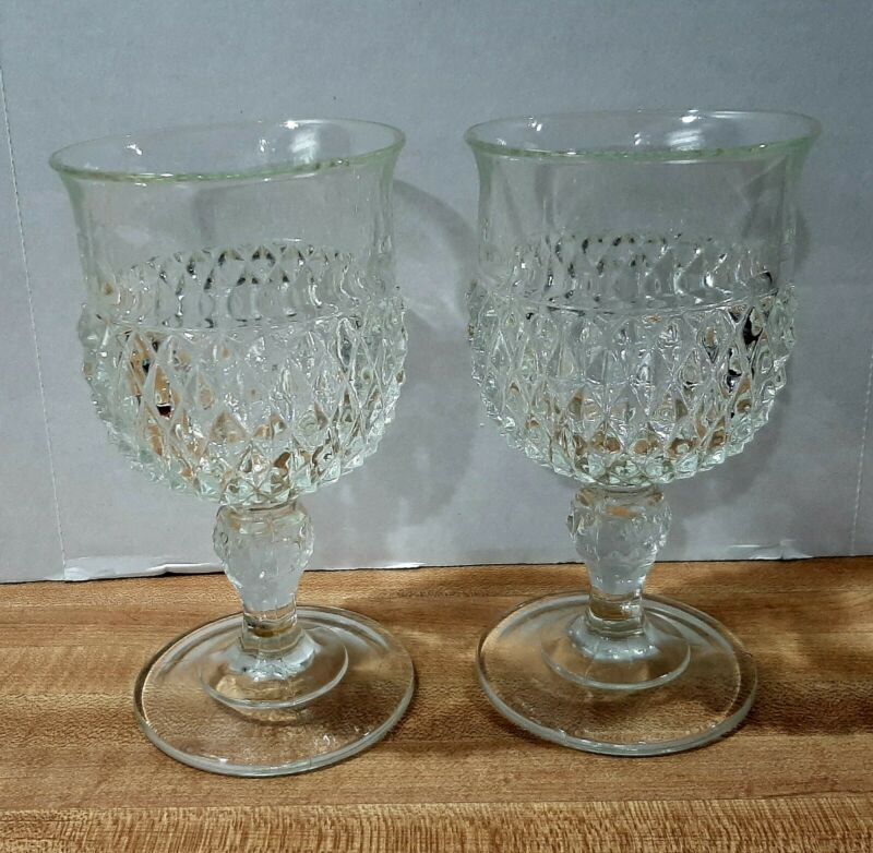 "2 Vintage Indiana Glass Diamond Point 6 1/2"" Pedestal Goblets/Wine Glasses 16 oz"