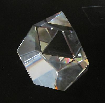Swarovski Crystal CLEAR Octron 8-Sided Polygon Paperweight Retired Old SC Logo