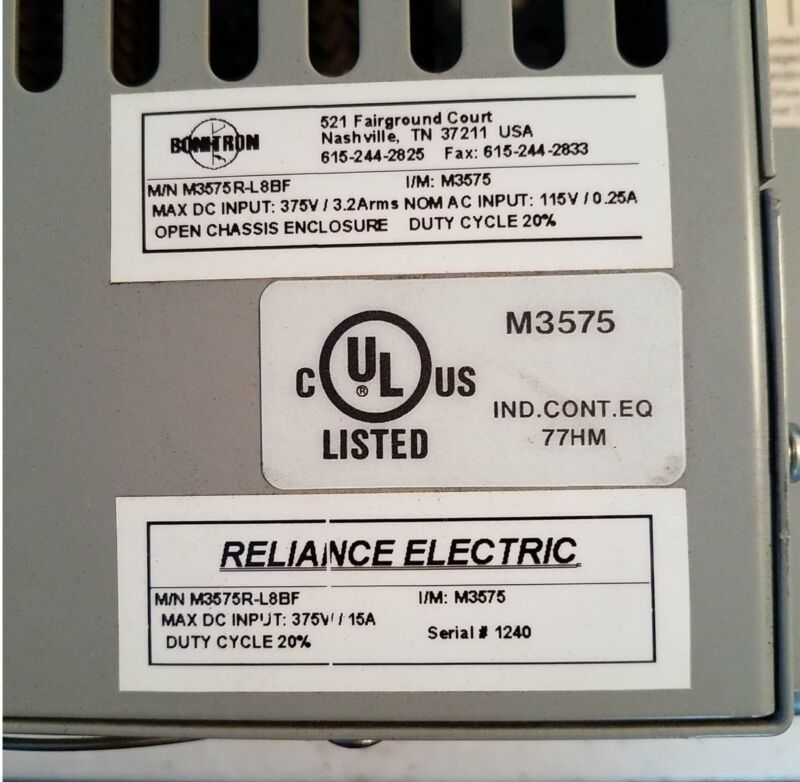 BONITRON M3575R-L8BF (Reliance Electric) dynamic brake module