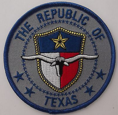 THE REPUBLIC OF TEXAS PATCH - EMBROIDERED BIKER VEST PATCH - STEER SKULL ](The Steer)
