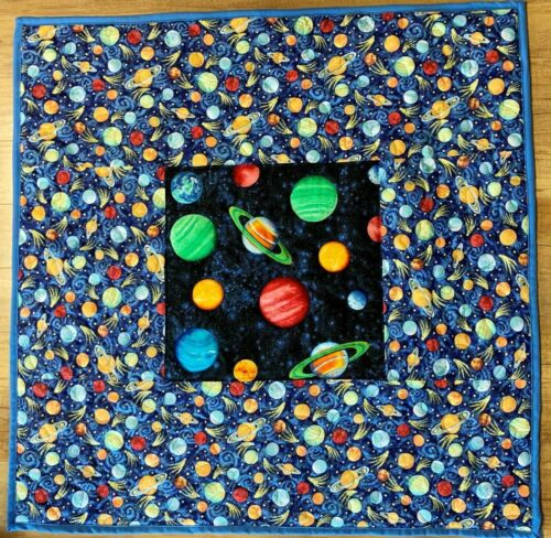 """Baby Quilt Handmade Boys Space Planets Crib Blanket 42""""x 42"""" NEW"""