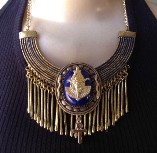 Vintage Necklace Egyptian Revival Osiris Bib Pendant Egyptian Jewelry