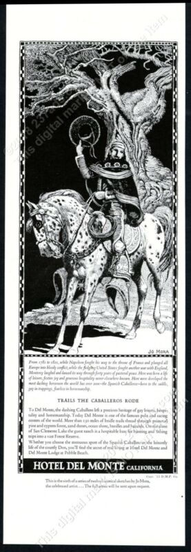 1934 Hotel Del Monte Spanish Caballero horse Jo Mora art vintage print ad